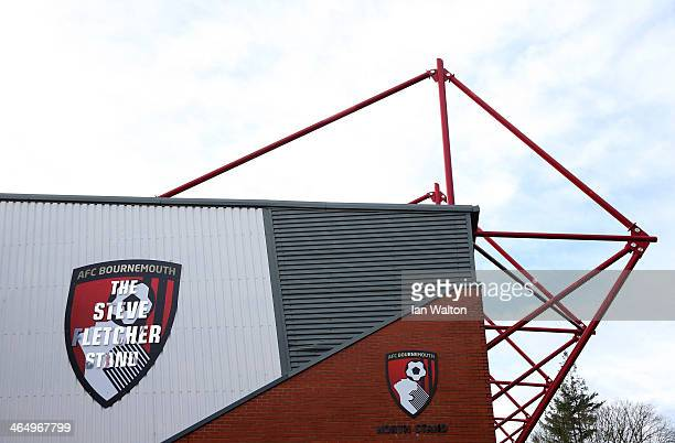 A general view of the Steve Fletcher stand ahead of the FA Cup Fourth Round match between Bournemouth and Liverpool at Goldsands Stadium on January...