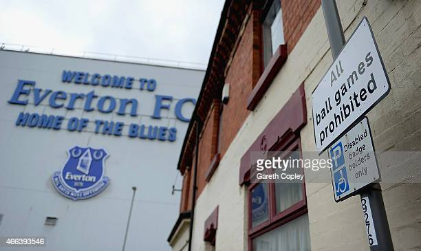 A general view of the streets around Goodison ahead of the Barclays Premier League match between Everton and Newcastle United at Goodison Park on...