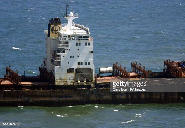 General view of the stricken container ship MSC Napoli off the South Devon coast near Sidmouth Devon after explosive devices blew apart the deck