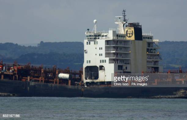 General view of the stricken container ship MSC Napoli off the South Devon coast near Sidmouth after explosive devices blew apart the deck