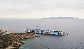 A general view of the stricken Costa Concordia a few days before operations to remove the capsized cruise liner are due to begin on May 19 2012 in...