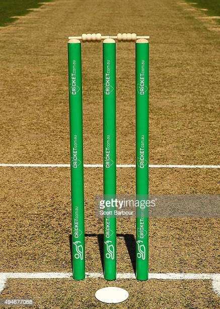 A general view of the stumps during day one of the Sheffield Shield match between Victoria and Queensland at Melbourne Cricket Ground on October 28...