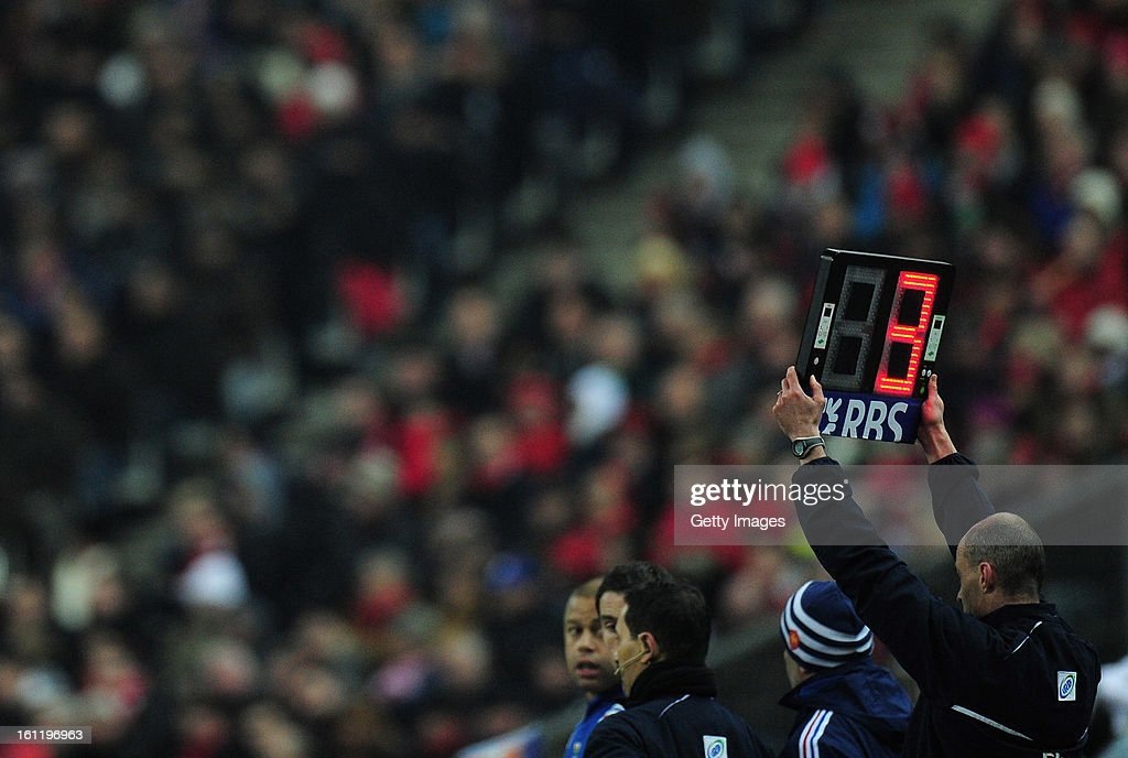 A general view of the substitutes board during the RBS Six Nations match between France and Wales at Stade de France on February 9, 2013 in Paris, France.
