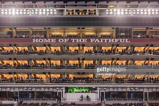 A general view of the suite tower area of Levi's Stadium during the Pac12 Championship Game between the Stanford Cardinal and the USC Trojans on...