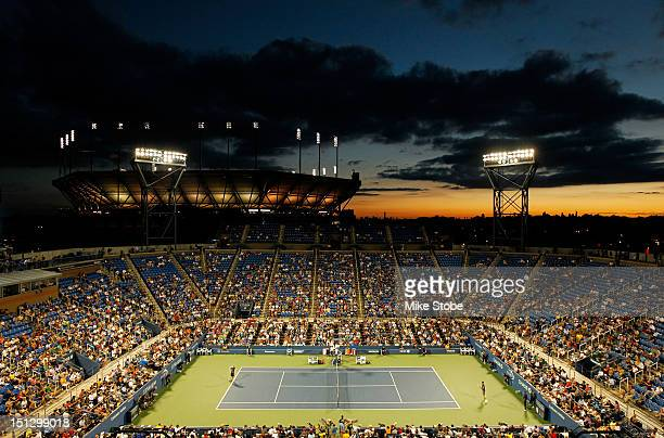 General view of the sun setting as Andy Murray of Great Britain competes against Marin Cilic of Croatia during their men's singles quarterfinal match...