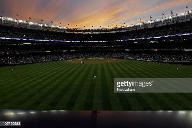 A general view of the sun setting as the New York Yankees play against the Texas Rangers in Game Five of the ALCS during the 2010 MLB Playoffs at...