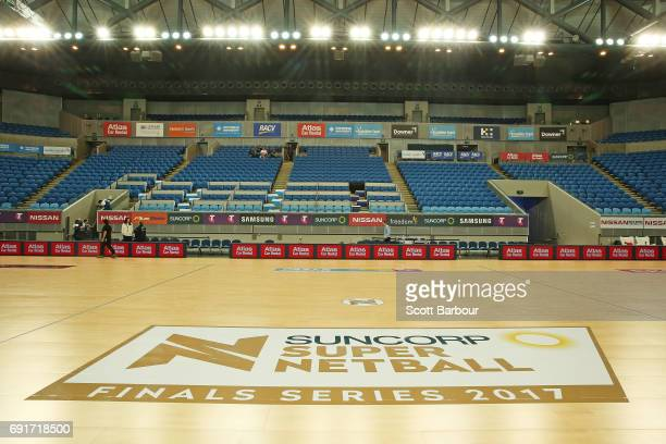 A general view of the Suncorp Super Netball Finals Series 2017 signage on the court during the Super Netball Major Semi Final match between the...