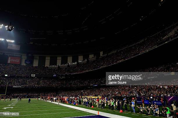 A general view of the Superdome after a sudden power outage in the second quarter during Super Bowl XLVII at the MercedesBenz Superdome on February 3...