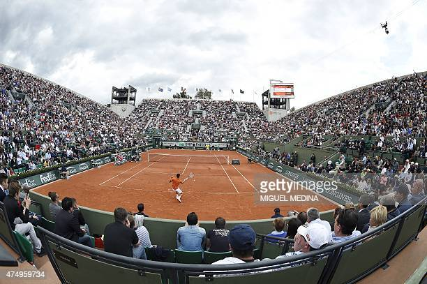 General view of the Suzanne Lenglen court during the match between Serbia's Novak Djokovic and Luxemburg's Gilles Muller during the men's second...