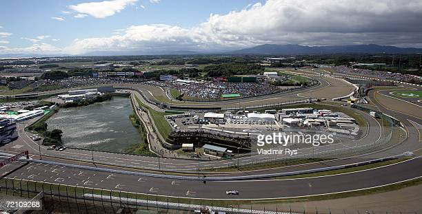 General view of the Suzuka Circuit is seen during practice prior to qualifying for the Japanese Formula One Grand Prix at the Suzuka Circuit on...