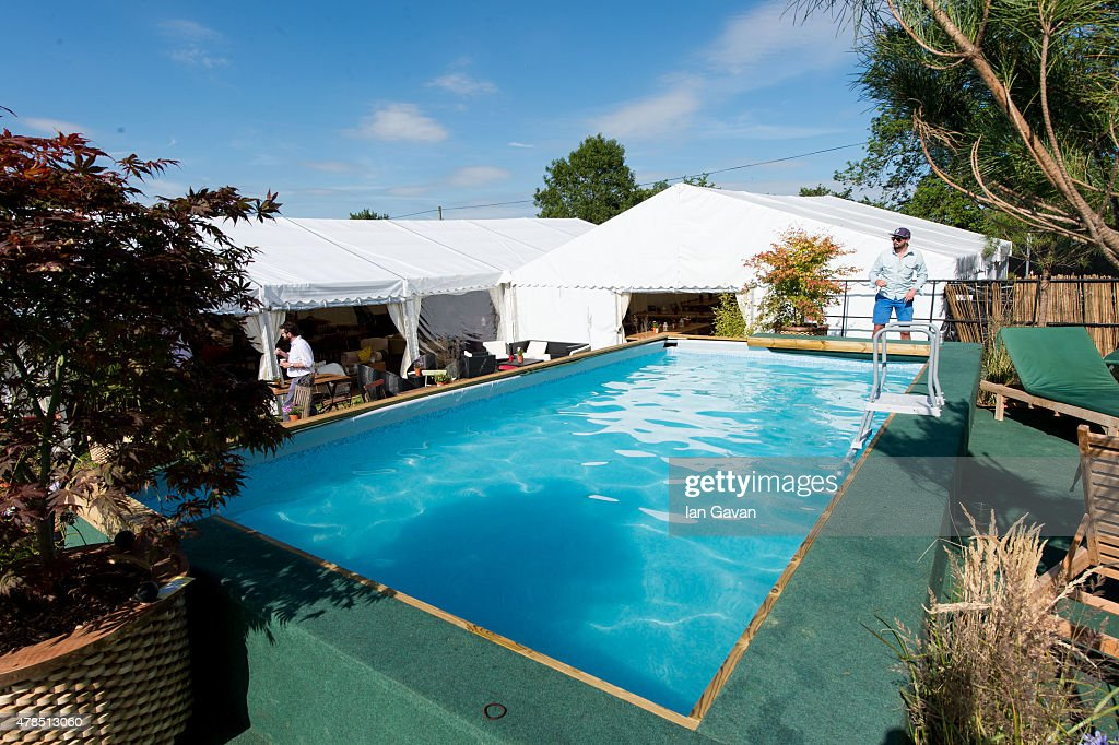 General View Of The Swimming Pool At The Pop Up Hotel On Day 1 Of The Glastonbury Festival At