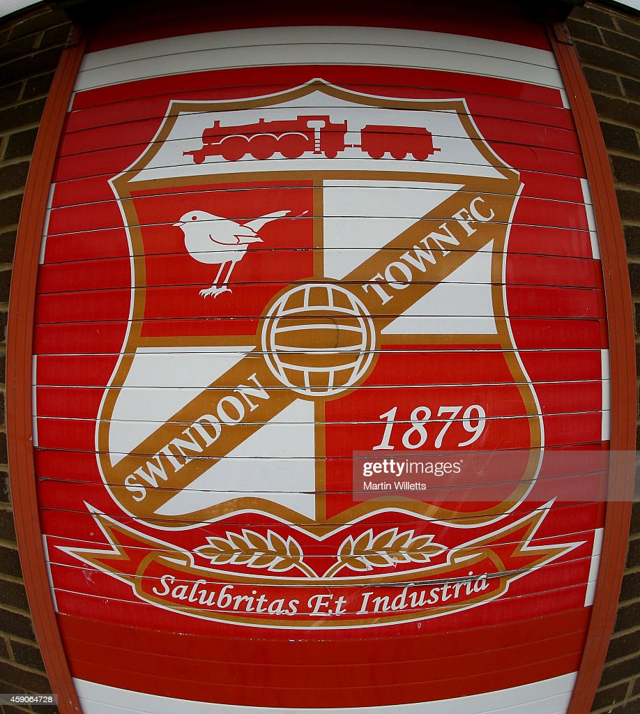 General View of the Swindon Town club badge seen outside the County Ground prior to the Sky Bet League One match between Swindon Town and Bristol...