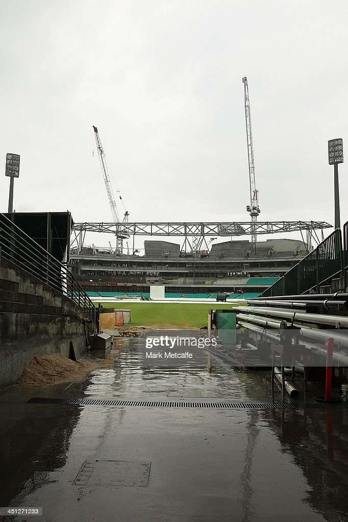 A general view of the Sydney Cricket Ground and the construction of the new Noble and Bradman stand as rain delays play during day one of the Sheffield Shield match between the New South Wales Blues and the Queensland Bulls at Sydney Cricket Ground on November 22, 2013 in Sydney, Australia.