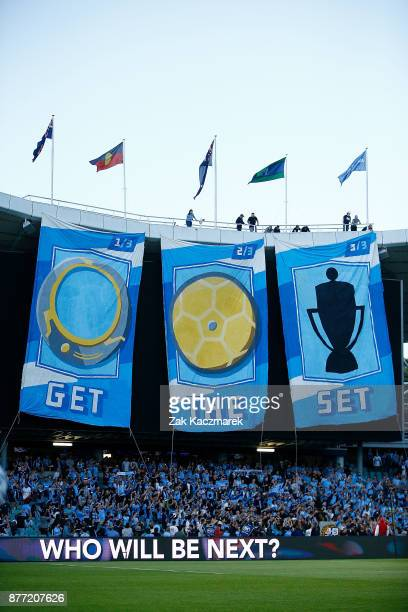 A general view of the sydney fans unveiling banners during the FFA Cup Final match between Sydney FC and Adelaide United at Allianz Stadium on...
