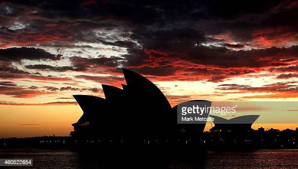 A general view of the Sydney Opera House sails at sunrise on December 16 2014 in Sydney Australia Sydney siege gunman Man Haron Monis was shot dead...