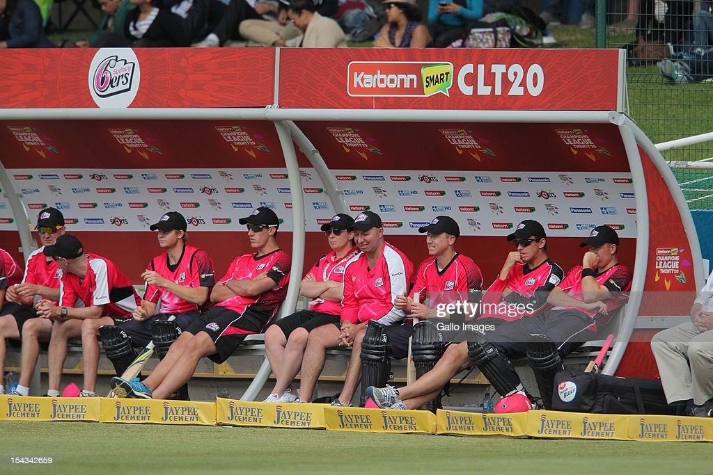 A general view of the Sydney Sixes dug out during the Karbonn Smart CLT20 match between bizbub Highveld Lions (South Africa) and Sydney Sixers (Australia) at Sahara Park Newlands on October 18, 2012 in Cape Town, South Africa.