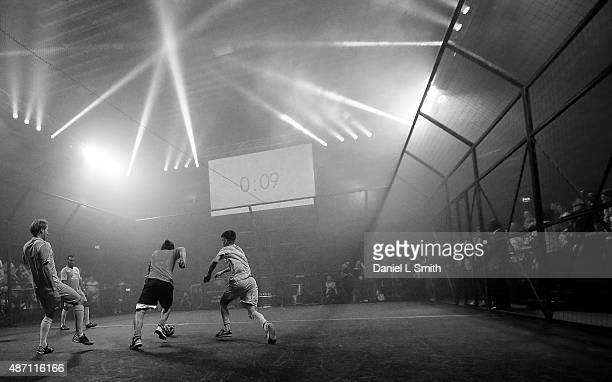 A general view of the T3 street football game between Lions v Scorpions during the Soccerex Manchester football festival at Granada Studios on...