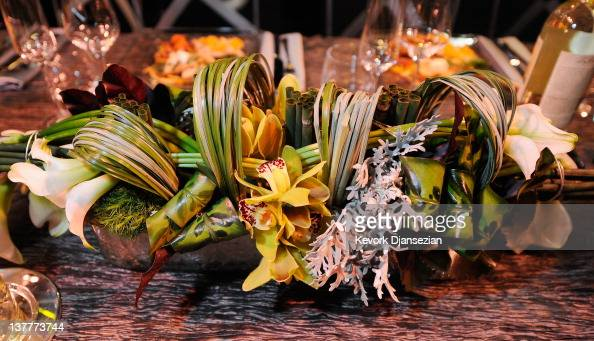 General view of the table centerpiece flower arranged by Christopher Matsumoto during the 18th Annual Screen Actor Guild Awards ceremony behind the...