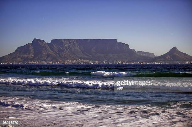 A general view of the Table Mountain and the city of Cape Town is seen on April 2 2010 from blouberg beach on the outskirt of Cape Town Table...