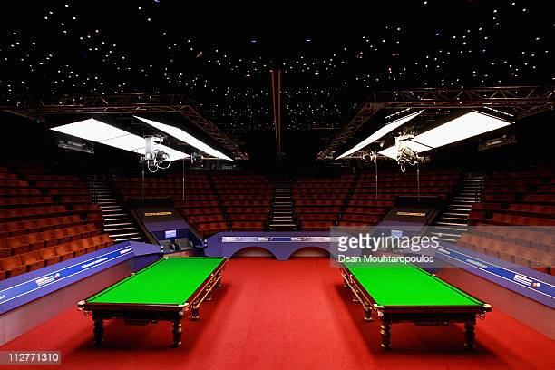 A general view of the tables on day six of the Betfredcom World Snooker Championship at The Crucible Theatre on April 21 2011 in Sheffield England