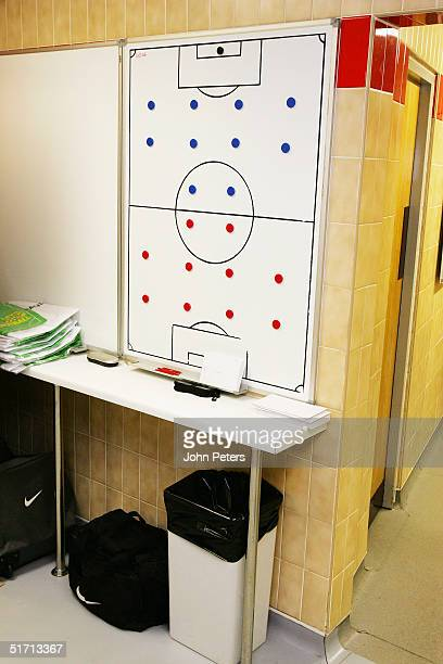 A general view of the tactics board in the home team dressing room at Old Trafford ahead of the Barclays Premiership match between Manchester United...