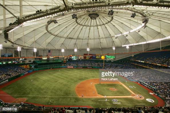 A general view of the Tampa Bay Devil Rays home opener against the Toronto Blue Jays is seen at Tropicana Field on April 4 2005 in St Petersburg...