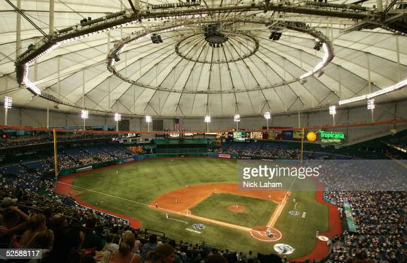 A general view of the Tampa Bay Devil Rays home opener at Tropicana Field against the Toronto Blue Jays is seen on April 4 2005 in St Petersburg...