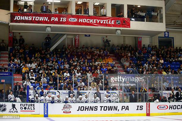 A general view of the Tampa Bay Lightning bench during the third period of the NHL Kraft Hockeyville USA preseason game against the Pittsburgh...