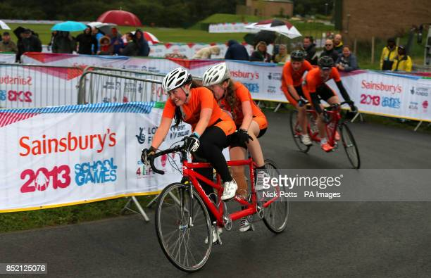 A general view of the Tandem Final in the cycling during day two of the 2013 Sainsburys School Games at Forge Valley School Sheffield PRESS...