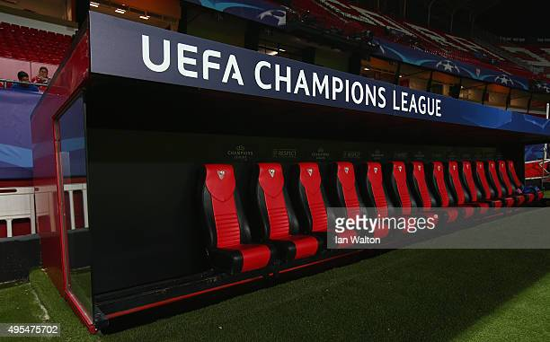A general view of the team bench prior to the UEFA Champions League Group D match between Sevilla FC and Manchester City FC at Estadio Ramon Sanchez...