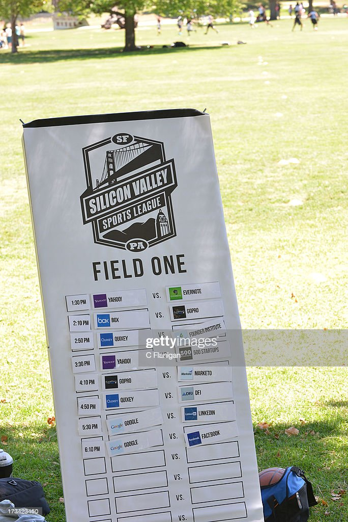 A general view of the team boards during the Founder Institute's Silicon Valley Sports League event on July 13, 2013 in Palo Alto, California.