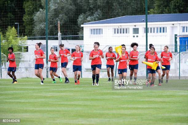 General view of the team during a training session of Paris Saint Germain at Bougival on July 25 2017 in Paris France