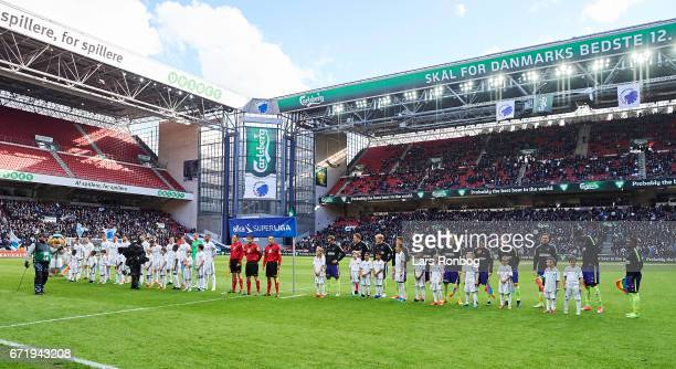 General view of the teams lining up on the pitch prior to the Danish Alka Superliga match between FC Copenhagen and FC Midtjylland at Telia Parken...