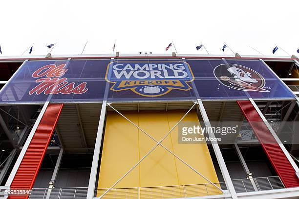 A general view of the team's logos outside the stadium before the game between the 4th ranked Florida State Seminoles play the 11th ranked Ole Miss...
