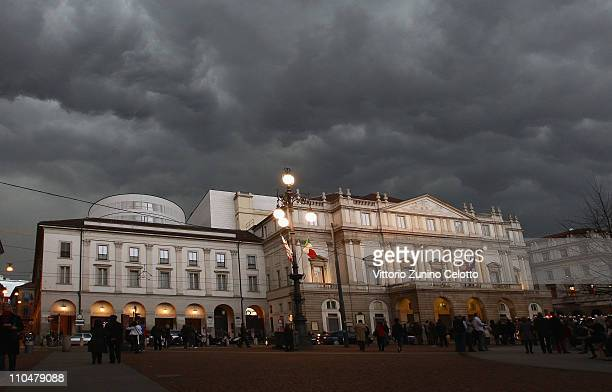 A general view of the Teatro alla Scala on March 19 2011 in Milan Italy Events in various Italian cities will celebrate the 150th anniversary of...