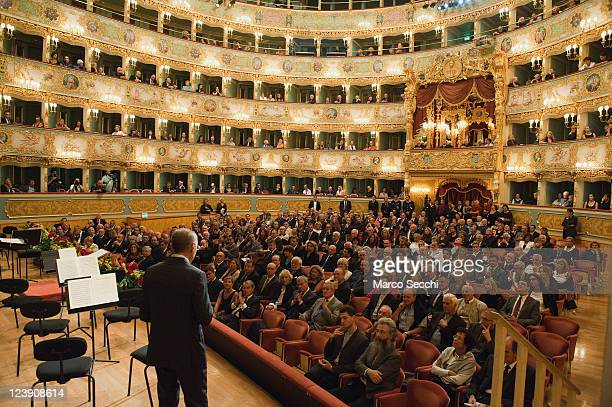A general view of the Teatro La Fenice during the Civil tribute to Cardinal Angelo Scola Patriarch of Venice on September 5 2011 in Venice Italy Pope...