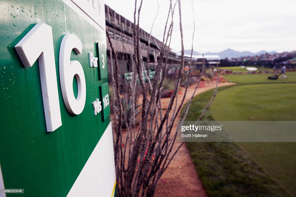A general view of the tee box on the parthree 16th hole during the third round of the Waste Management Phoenix Open at TPC Scottsdale on January 31...