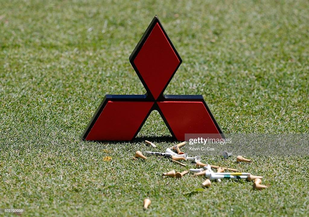 A general view of the tee marker on the second hole during the final round of the Mitsubishi Electric Classic at TPC Sugarloaf on April 17 2016 in...