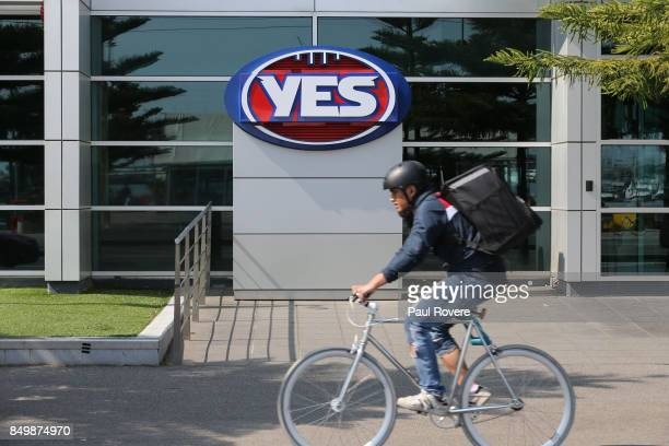 A general view of the temporarily replaced AFL logo at AFL House on September 20 2017 in Melbourne Australia The AFL has shown its support for...