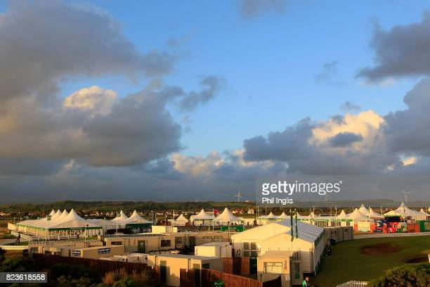General view of the tented village during the first round of the Senior Open Championship presented by Rolex at Royal Porthcawl Golf Club on July 27...