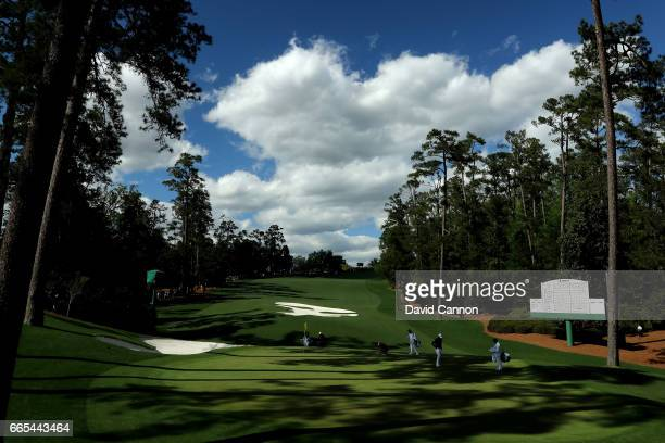 A general view of the tenth green is seen during the first round of the 2017 Masters Tournament at Augusta National Golf Club on April 6 2017 in...