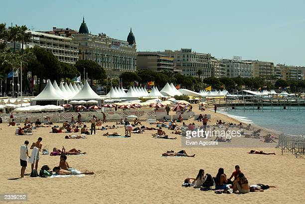 General view of the tents and beach area behind the Palais Des Festival during 56th International Cannes Film Festival May 15 2003 in Cannes France