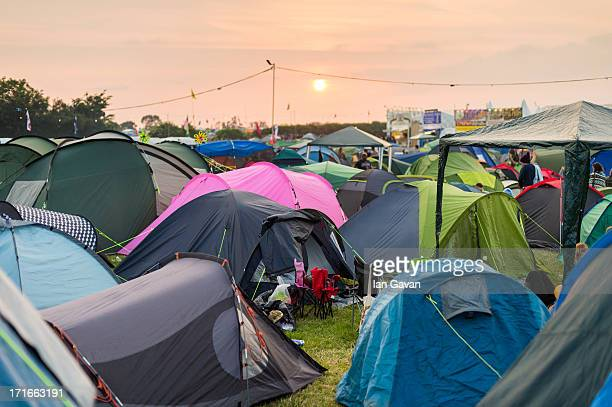 General view of the tents in a campsite prior to the 2013 Glastonbury Festival at Worthy Farm on June 26 2013 in Glastonbury England