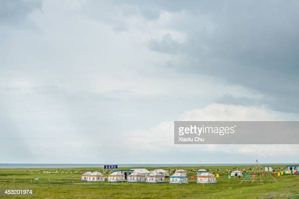 A general view of the tents of Tibetan people at the shore of Qinghai Lake Qinghai Lakethe sacred lake of the Tibetan Buddhism is the largest salt...