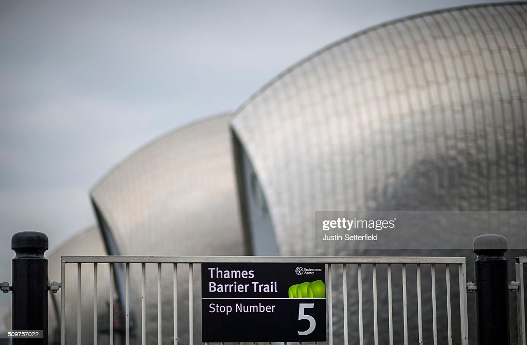 A general view of the Thames Barrier on February 12, 2016 in London, England. Flood alerts have been issued for a huge stretch of London after the Thames Barrier was closed yesterday for first time this winter after the river Thames burst it's banks due to massive tides and heavy rain.