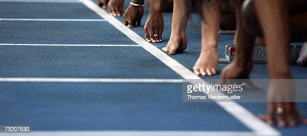 General view of the the 60m hurdles during the Sparkassen Cup 2007 at the HannsMartin Schleyer Hall on February 3 2007 in Stuttgart Germany Suzanna...