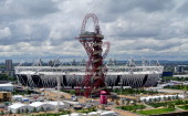 A general view of the the ArcelorMittal Orbit sculpture standing in front of the Olympic Stadium in the Olympic Park on July 04 2012 in London England