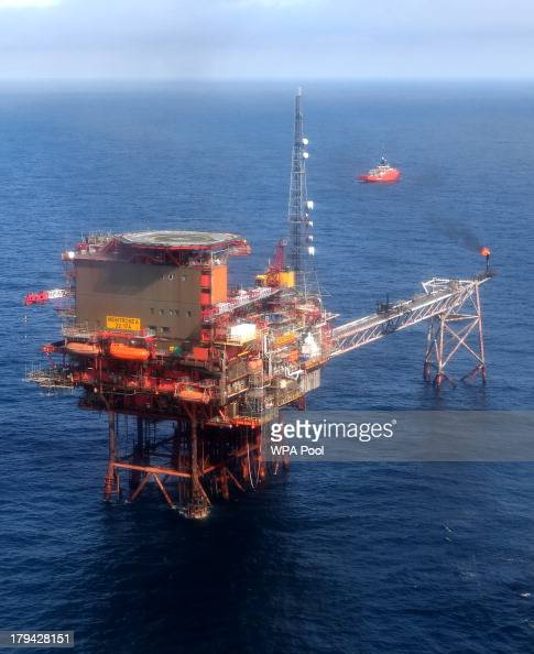 A general view of the the Montrose Platform in the North Sea visited by George Osborne who later joined oil and gas industry representatives in a...
