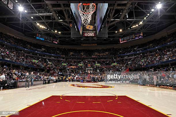 A general view of the The Quicken Loans Arena during the Toronto Raptors game against the Cleveland Cavaliers on November 15 2016 in Cleveland Ohio...