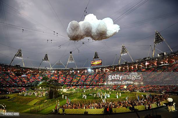 A general view of the the set depicting the English countryside during the Opening Ceremony of the London 2012 Olympic Games at the Olympic Stadium...